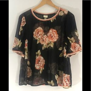 A NEW DAY sheer black with orange roses top Large